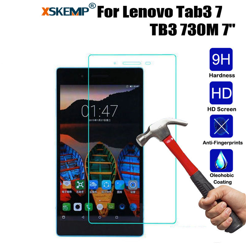 "XSKEMP Tempered Glass Screen Protector Film Lenovo Tab3 7 TB3 730M 7"" Ultra Clear 9H Hardness 0.3mm Tablet Protective Guard"