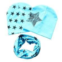 1 set Baby cotton hat scarf Kids Hat Autumn Winter Children scarf-collar Boys Girls warm Beanies Star print Infant Hats baby