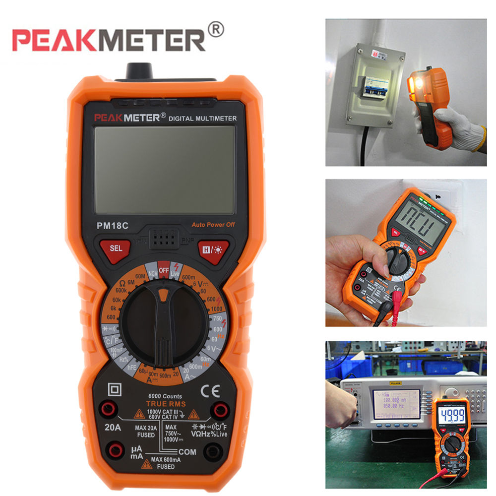 PM18C Digital Multimeter Voltage Current Resistance Capacitance Tester True RMS Multi Meter NCV Diagnostic Tool with Test Probe<br>