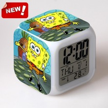 SpongeBob SquarePants Digital Alarm Clock Color Changing LED Clock Kids Cartoon Clock(China)