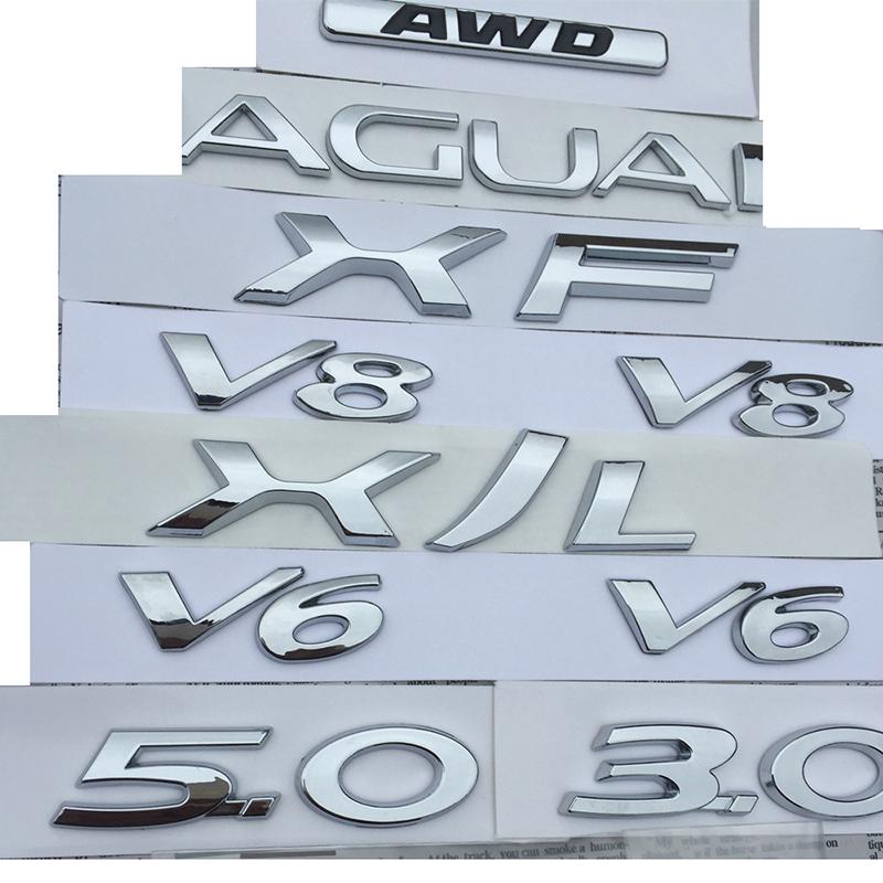 V6 V8 3.0 5.0 AWD XF XJL Letters Emblem Badge Fender Trunk Discharging Capacity Car Logo Styling Stickers for Jaguar Chrome