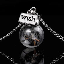 Dandelion Seed Wish Real Flower Glass Ball Factory Direct Chain Statement Choker Necklace Women Vintage Boho Jewelry