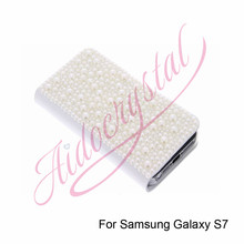 Aidocrystal Clear White Pearl Jewelry Rhinestone Diamond Crystal Flip PU Leather cover case with Card slot for Samsung Galaxy S7(China)