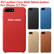 Metal Button Case Original PU Leather Case For Apple iPhone 7/7 plus Official High quality Back Cover Mobile Phone Cases