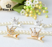 Fashion Children Girl hair accessories Cute hair clips Shiny Rhinestone Crystal crown hairpin barrettes Princess Favor