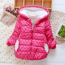 2016 new girls fashion warm Outwear Children cute cotton winter clothes princess coat Jackets for Kids 3-5 years old(China)