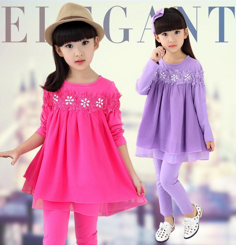 Fashion Cotton Vetement Enfant Fille Long Sleeve Lace Stitching Children Princess Mesh Hem Dress And Leggings Clothing Sets<br>
