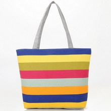 Summer Canvas Shopper Bag Striped Rainbow Prints Beach Bags Tote Women Ladies Girls Shoulder bag Casual Shopping Handbag Bolsa(China)