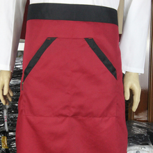 2Color Universal Unisex Kitchen Cooking Hotel Chef Aprons Chef uniforms Waist Apron Short Apron Waiter Apron with Double Pockets