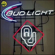 Neon signs Bud Light OU Neon Sign Real Neon Light Neon Bulb Sign Handcraft Beer Bar Pub Board Glass Tube Recreation Room Window(China)