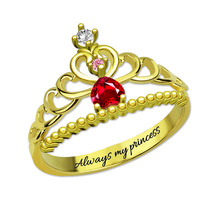 Beautiful Fairytale Princess Tiara Birthstone Ring Gold Color My Princess Ring for Her