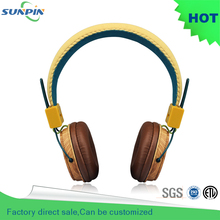 2016 New Headband Wird Noise Noise Cancelling Microphone Headphone Studio Headphones Earphones Wooden Headset For Iphone Player