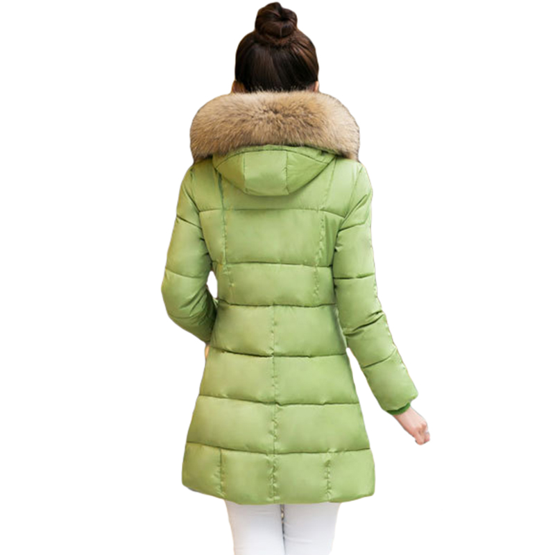 Wmwmnu 2017 winter jacket women fur collar Medium length parkas female cotton-padded slim jackets thick women winter coat ls510Îäåæäà è àêñåññóàðû<br><br>