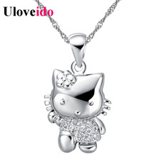 Cute Cat Crystal Necklace Women Jewelry Pendant Chain Bijoux Wedding Accessories Vintage Valentine's Day Gift Sale Uloveido N607