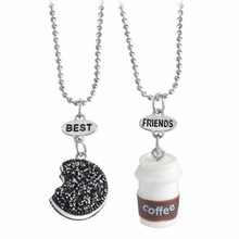 2pcs/set Best Friend Cookie Coffee Pendant Chain Necklaces BFF Friendship Kids Children Jewelry Birthday Christmas Gift #240695
