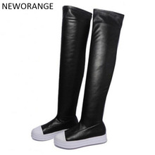 2017 Over The Knee Boots Women Autumn Winter Slim Fit Thigh High Boots Platform Casual Black Shoes Woman Size 40 WBS298