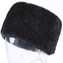 Valpeak Real Mink Fur Scarf Women Winter Knitted Fur Headbands Ring Collar Natural Elastic Warm Hat Genuine Mink Fur Scarf(China)