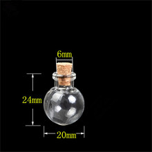 Round Ball Mini Bottles Pendants Necklace Small Glass Bottles With Cork Gift Glass Jars Vial 20pcs 2016 new