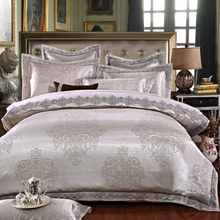 Silver Grey Stain Jacquard bedding set King Queen size 4pcs Lace duvet cover set bed sheet linen bedclothes bed cover set(China)
