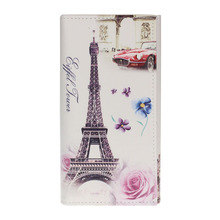 2016 New Eiffel Tower Rose Women Long Purse Clutch Wallet Bag Card Holder Female Convenient Photo Purse Pocket  Money  Nov19