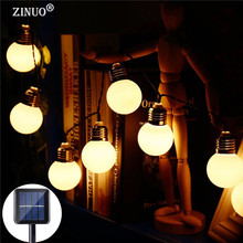 ZINUO 4M 10PCS G50 Bulb Solar Powered LED String Light Waterproof Globe Ball Christmas Fairy Lights New Year Garland Decoration