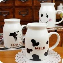 60pcs/lot Mug Cows creative illustrations ceramic cup Breakfast cup milk Children Smile Mug Trumpet couple cups