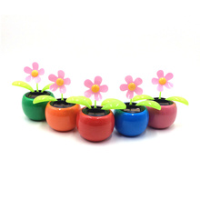 Solar Apple Sunflower Flip Flap Leaf Auto Solar Swing Ornament Car Decoration Power Flowerpot Plant Car Interior dancing Toys(China)