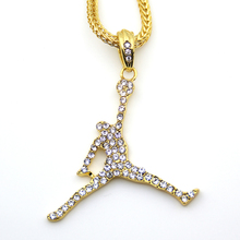 3 Colors Fashion Basketball Sports pendant Hip hop Necklace Jewelry Bling Bling Iced Out N623
