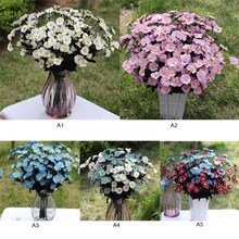 1x Bouquet  15 pcs  Artificial Chrysanthemum Plastic Fake Display Flower Bouquet Home Wedding  Ornament  Decorations P20