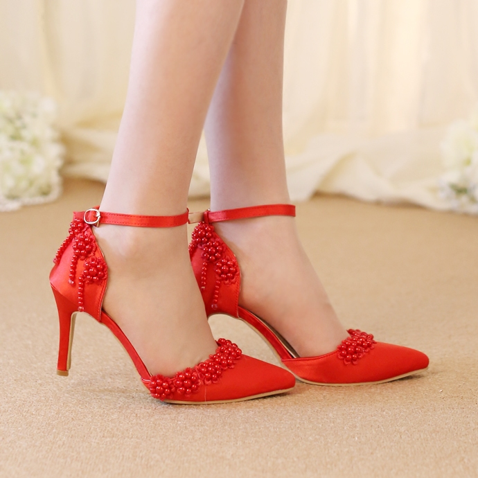 Summer pointed toe bride shoes 8cm heel ankle strap party dress shoes white/red flower design free shipping<br><br>Aliexpress