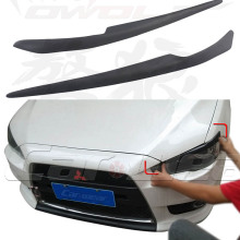 EVO FRP Primer Car Headlamp Eyelid Eyebrows Cover Trim Sticker For Mitsubishi Lancer Evo 2008-2014
