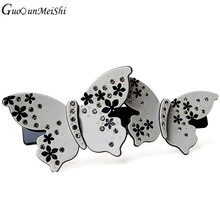 Retail Gray Acetate Cellulose Hair Clips Butterfly Rhinestone hair accessories buyer for Women Hair Jewelry free shipping gifts(China)