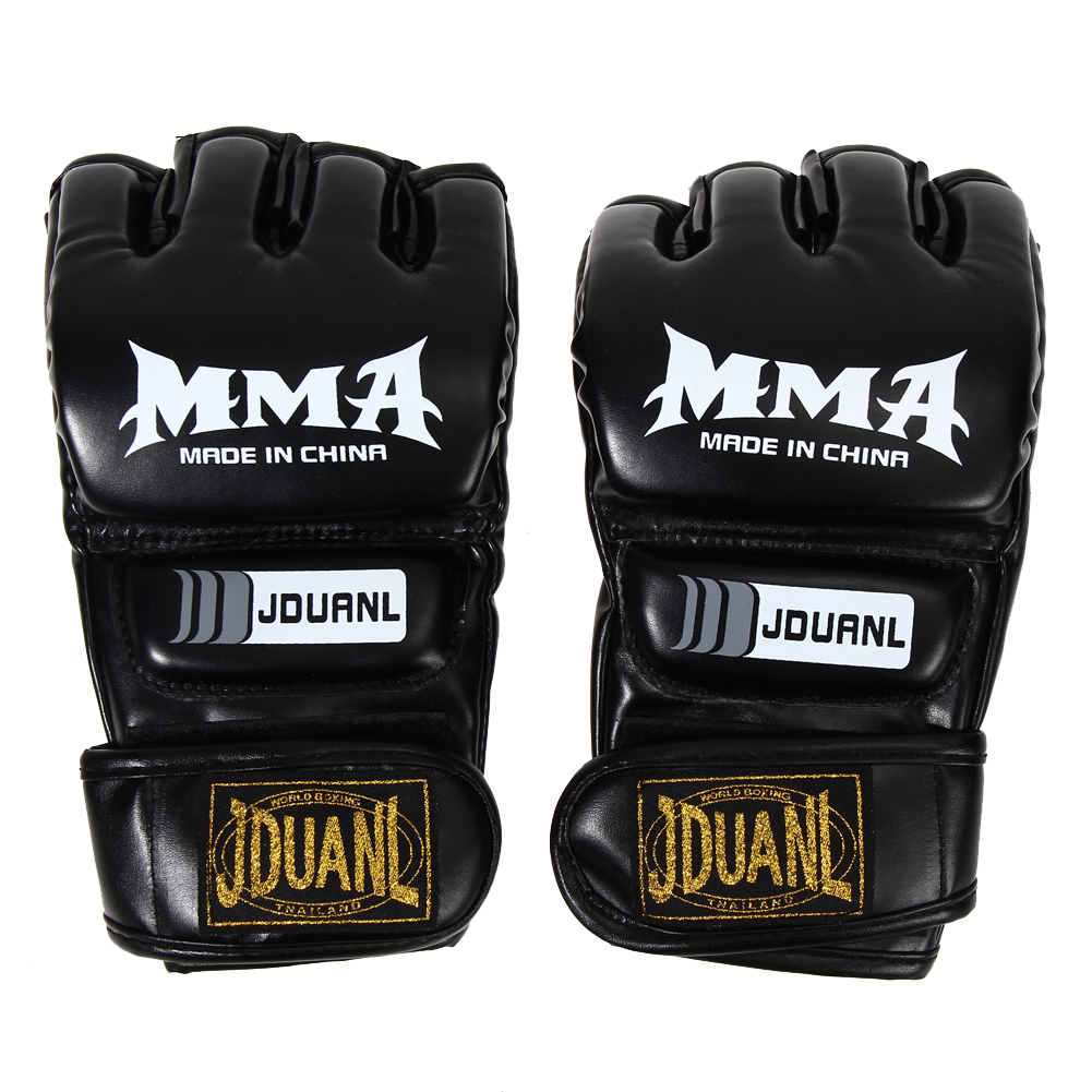 Boxing Gloves MMA Gloves Muay Thai Training Gloves MMA Boxer Fight Boxing Equipment Half Mitts PU Leather Black/Red 18