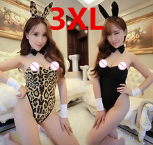 Buy Plus Size Sexy Chrismas Lingerie Rabbit Bunny Girl Uniforms Temptation Suit Bunny Sexy Lingerie Teddies Sex Toy Leopard COSPLAY