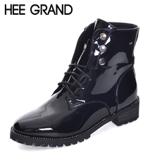 HEE GRAND Rivet Decoration Women Fashion Boots Patent Leather Lace-up Woman's Thick Heel Boots with Round Toe XWX6266(China)