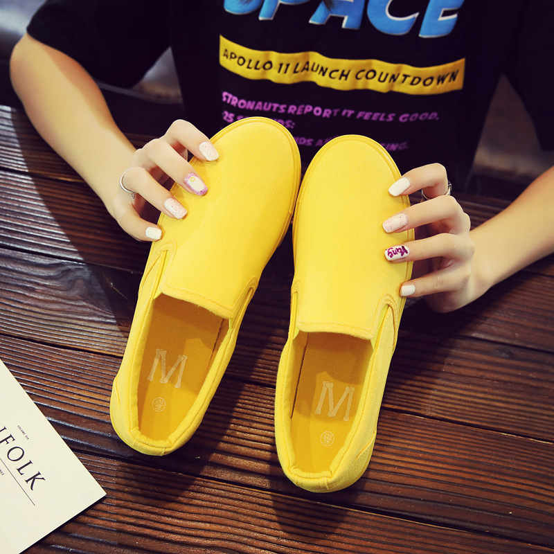 Women Vulcanize spring auntum Shoes Summer Breathable fashion Trainers Casual Shoes Cheap yellow Canvas Platform Shoes Sneakers (6)