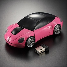Brand New High Quality for Pink Car Shaped Laptop Computer 1600DPI Mouse Optical Mice 3D 2.4G USB Wireless(China)