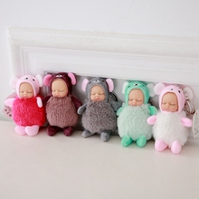 11cm Plush Stuffed Simulated Babies Sitting Sleeping Dolls Toys KeychainBirthday Gift For Babies 8 Styles New Born Baby Doll(China)