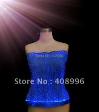 Optical fiber fabric illuminated top/clubwear