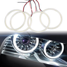 4pcs/lot 105mm COB Angel Eyes Headlight Halo Ring Lamp White Kit For BMW 3 Series E46 2D Auto Halo Rings Free Shipping