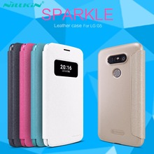Original Case for LG G5 H850 Flip Case Smart Quick Window Sleep Wake Leather Cover for LG G5 Glass Screen Protector for Choose(China)