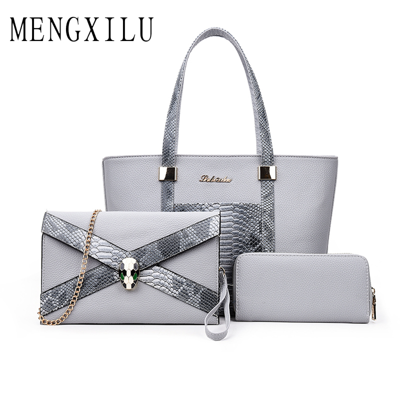 MENGXILU 2018 Serpentine Women Handbags 3 Pcs Composite Bag Luxury Handbags Women Bags Designer Women Shoulder Bag Sac A Main<br>