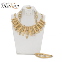 MUKUN Fashion Classic Design African Gold color Necklace Set Crystal Bridal Wedding Jewelry Set Dubai Luxury Jewellery Set(China)