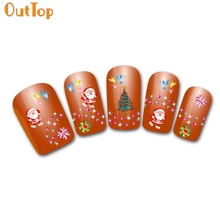 OutTop Love Beauty 1pc Water Transfer Christmas Santa Claus Trees Nail Art Stickers For Celebrating Party From China Supplier(China)