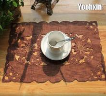 Modern lace brown place table mat cloth pad embroidery cup mug drink doilies glass tea coaster Christmas placemat dining kitchen(China)