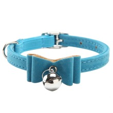 Pup Dog Collars Bow Tie Bow knot Lead Adjustable Leather PU Cat Kitten  Puppy Pet Dog Collars with Bell Necklace