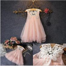 UNIKIDS Girl Dress Pink Baby Girl Clothes Summer Lace Flower Tutu Princess Kids Dresses For Girls,vestido infantil,Kid Clothes