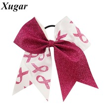 High Quality Handmade Glitter Ribbon Breast Cancer Cheer Bow For Girls Kids Boutique Glitter Hair Bow With Elastic Hair Band(China)