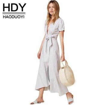 Hdy haoduoyi 2016 nueva moda mujer cuello en v profundo casual Loose Tops Asimétrico Rayas Camisa de Manga Corta Lazo de La Cintura Del Arco dress