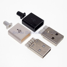 50set 3 in 1 A type 2.0 usb Male plug with Plastic shell Connector Kit Soldering wire DIY usb accessories